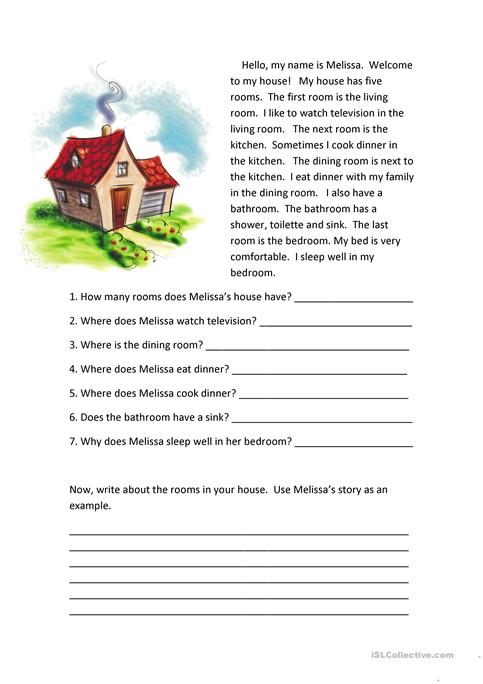 Rooms of the House Reading Comprehension worksheet - Free ESL ...