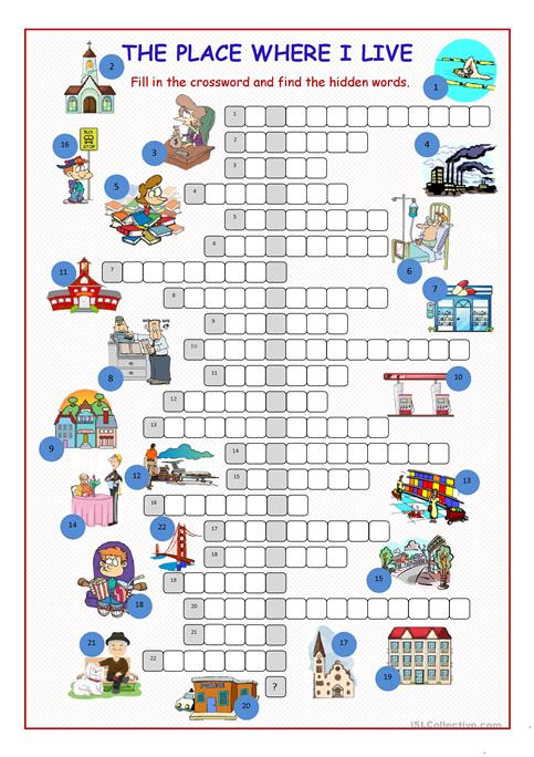 The Place Where I Live Crossword Puzzle Worksheet Free Esl