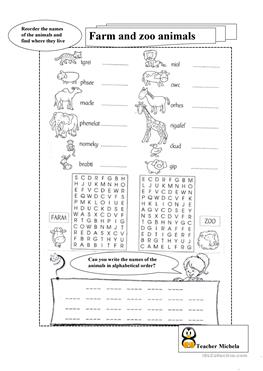 101 free esl zoo worksheets. Black Bedroom Furniture Sets. Home Design Ideas