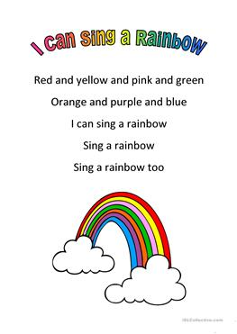 colors of the rainbow worksheet. i can sing a rainbow colors of the worksheet