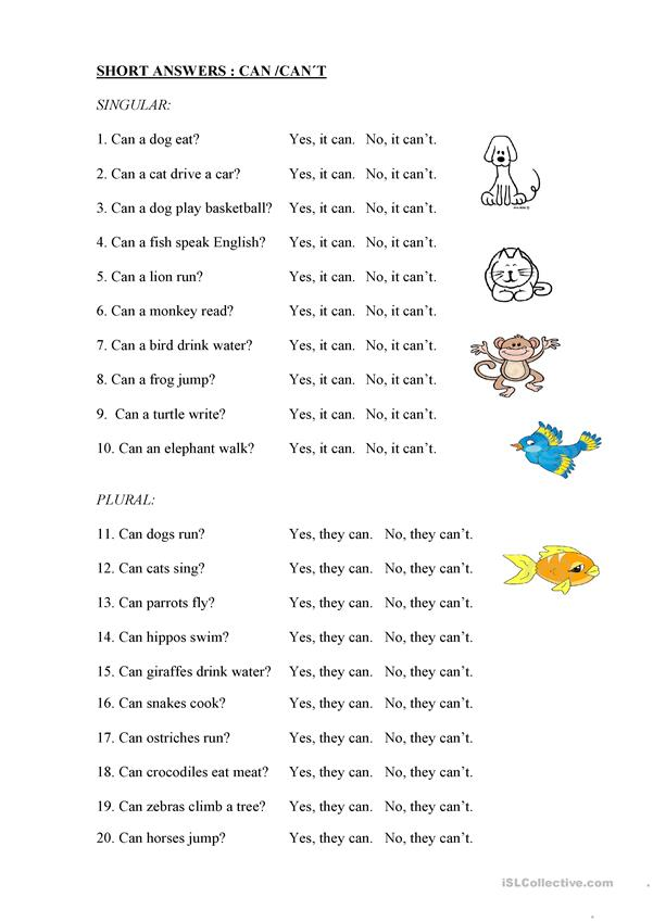 CAN, CAN´T SHORT ANSWERS + ANIMALS