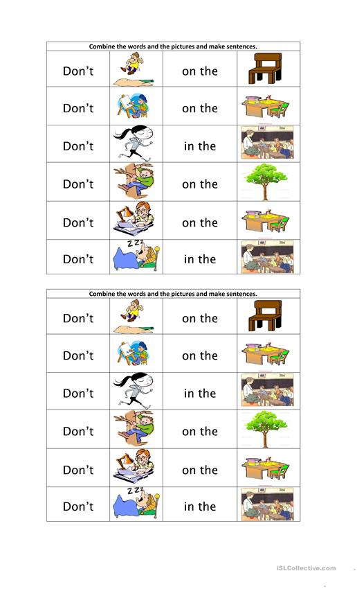 Combine the words and pictures to make sentences.