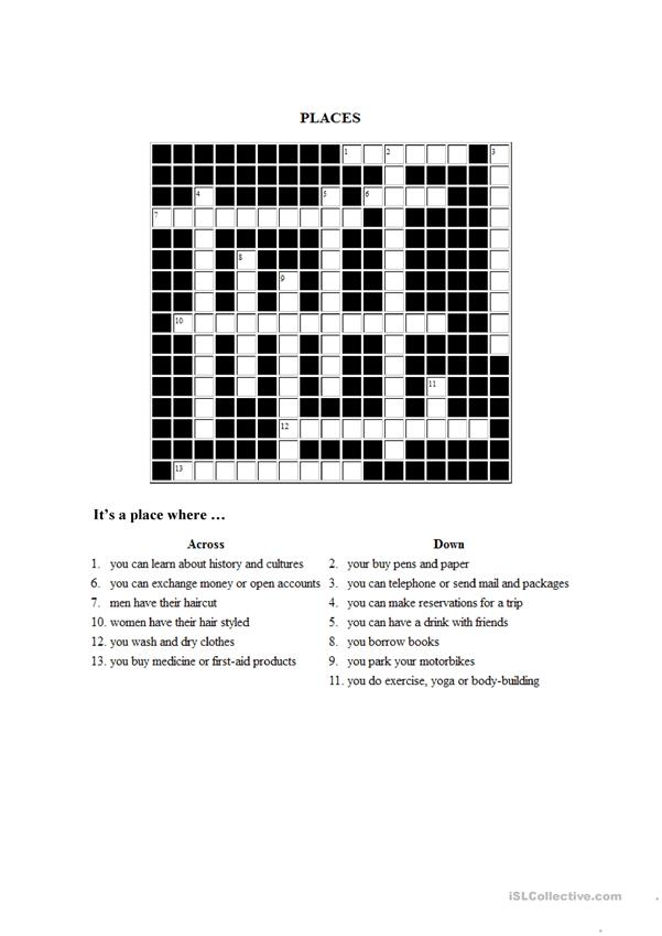 crossword PLACES