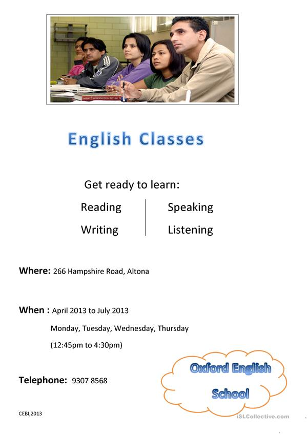 English Class Flyer