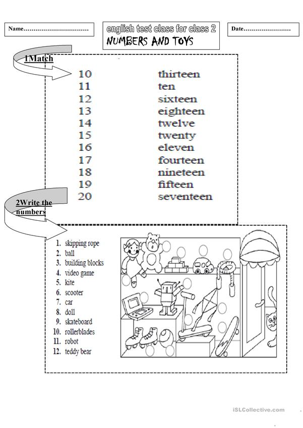 english test class 2:numbers and toys