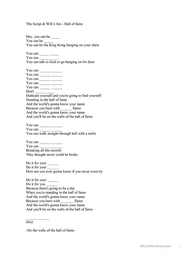 Hall of Fame Lyrics Fill in the gaps