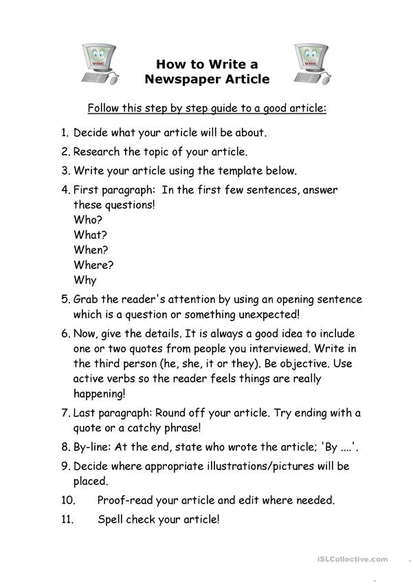 How to write a newspapaer article