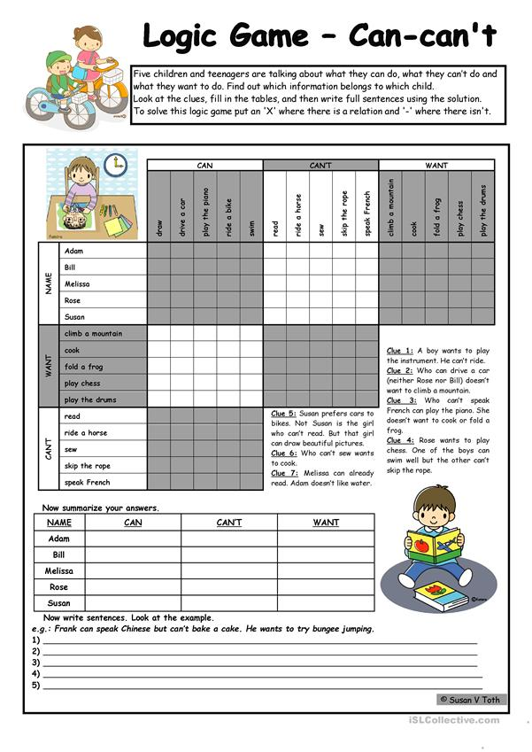 Logic game (47th) - Can-can´t-want *** upper-elementary *** with key *** fully editable *** B&W