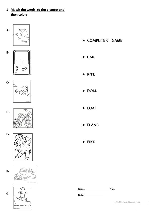 Match the words and the pictures then color