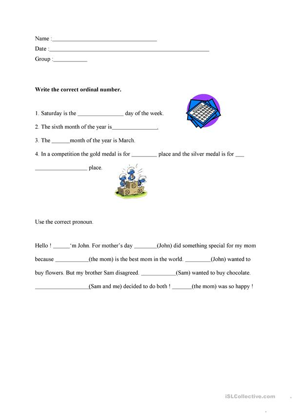 Ordinal numbers and pronouns