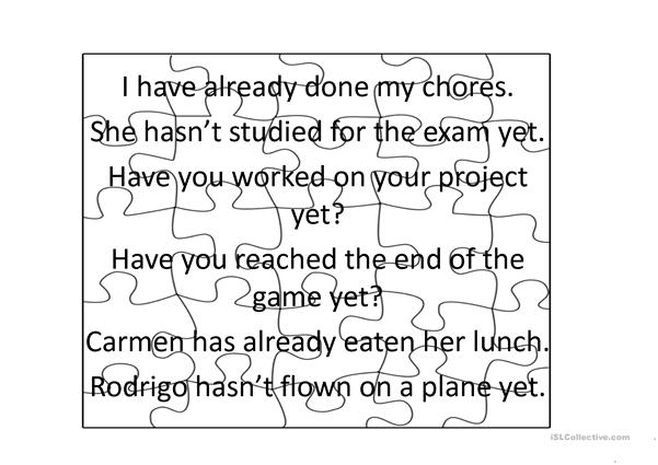 present perfect(yet and already) jigsaw