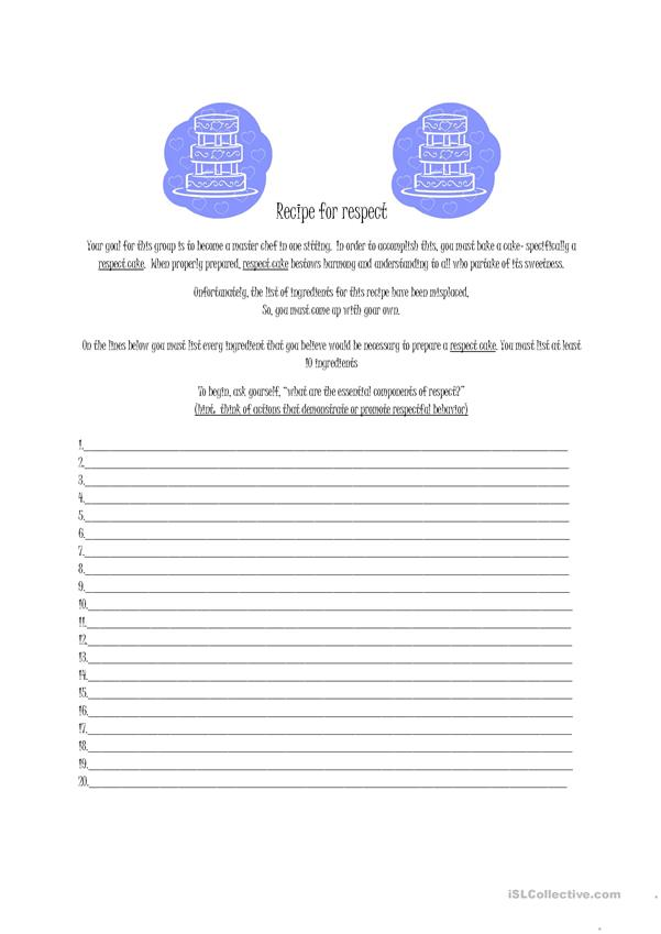 Recipe For Respect Worksheet