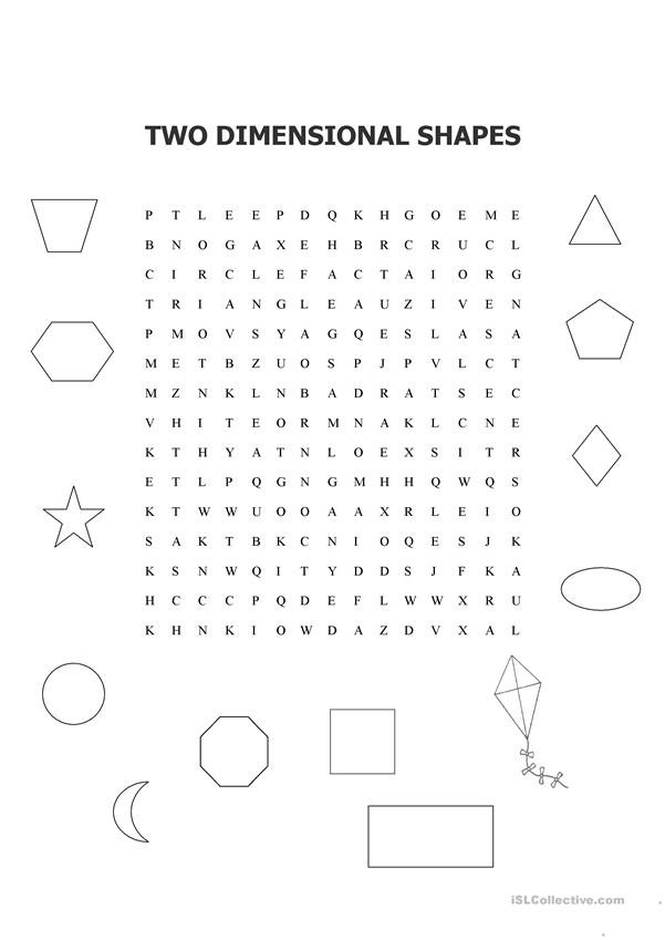 TWO DIMENSIONAL SHAPES WORD SEARCH