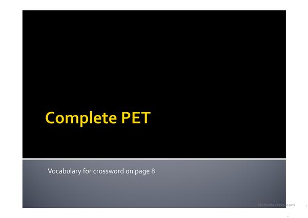 Vocabulary PPT with crossword