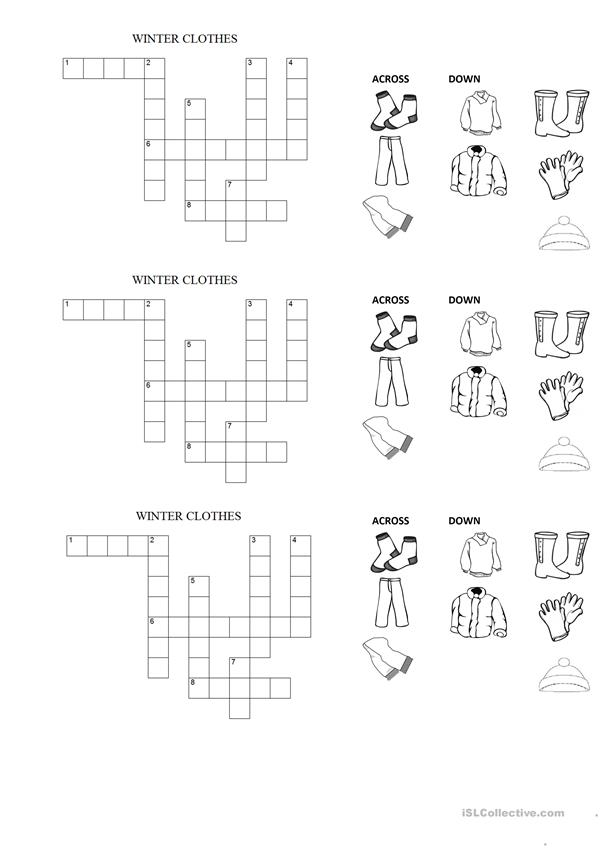 WINTER CLOTHES CROSSWORD