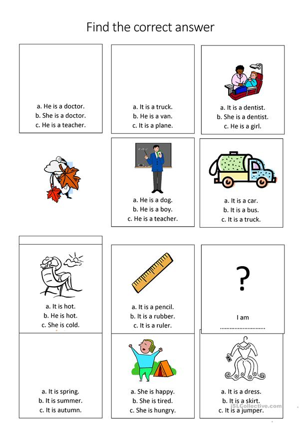 Young learners: to be + vocabulary