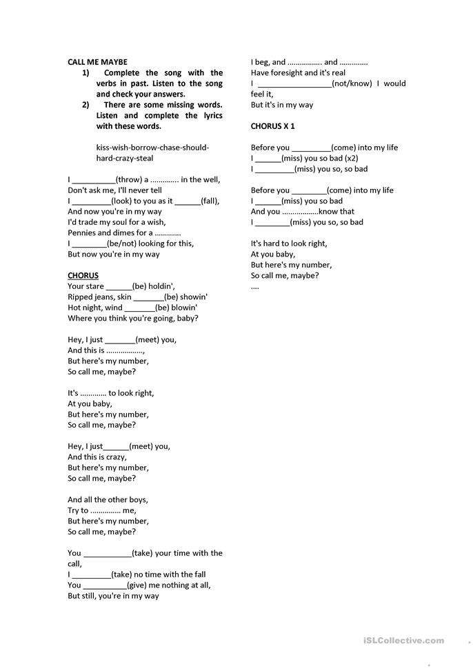 8 free esl call me maybe worksheets