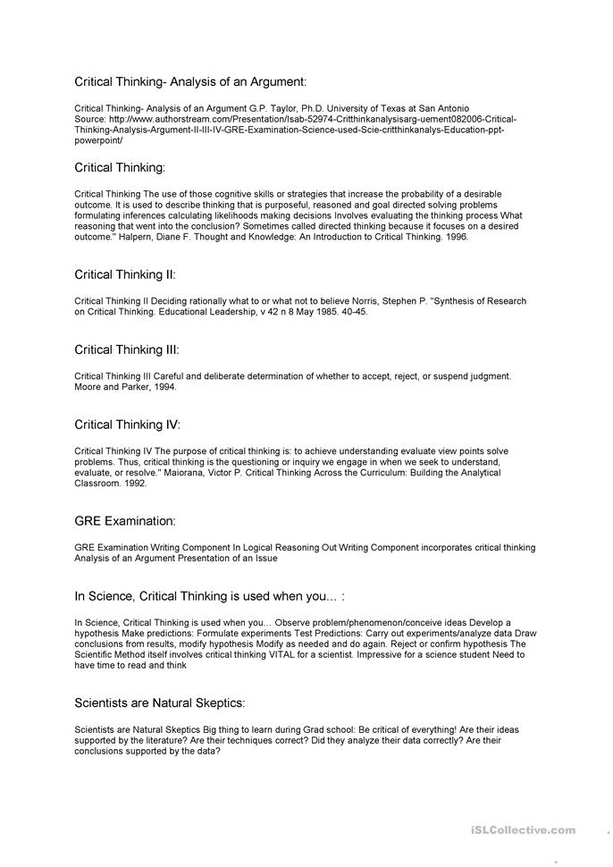 a critical thinking application 12 a employment at will The center for critical thinking — led by richard paul & linda elder & others — offers link-pages for critical thinking education in k-12 and higher education {research about critical thinking} of course, education also occurs outside.