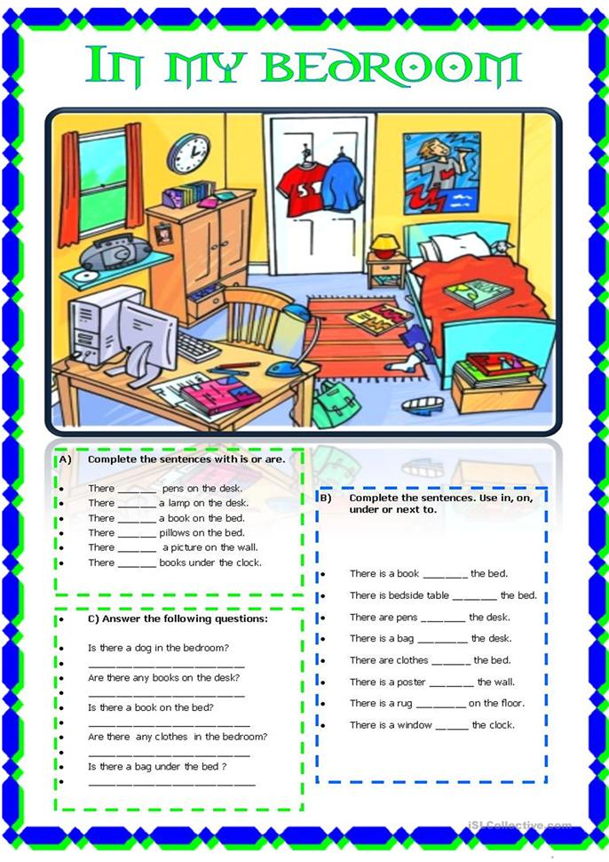 in my bedroom - ESL worksheets