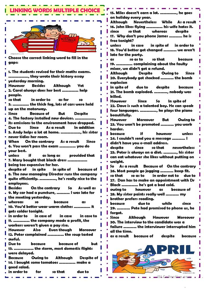 Linking words: multiple choice - ESL worksheets