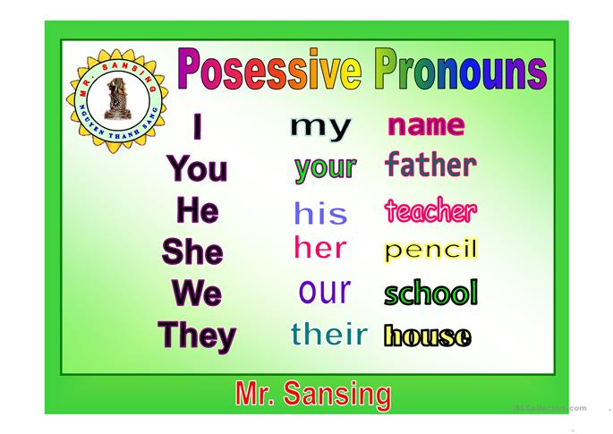 My your his her worksheet - Free ESL projectable ...