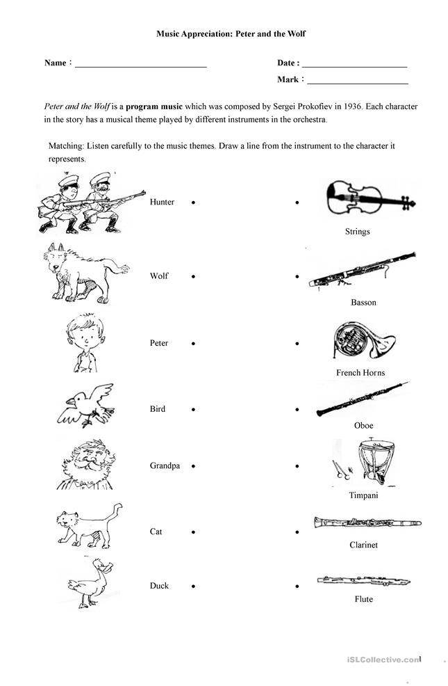peter and the wolf worksheet free esl printable worksheets made by teachers