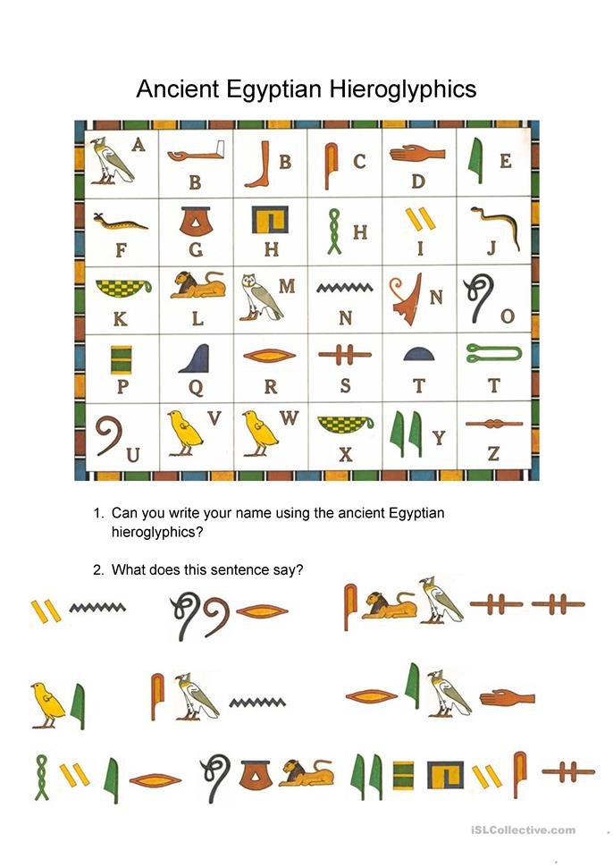 Worksheets Hieroglyphics Worksheet reading egyptian hieroglyphics worksheet free esl printable worksheets made by teachers