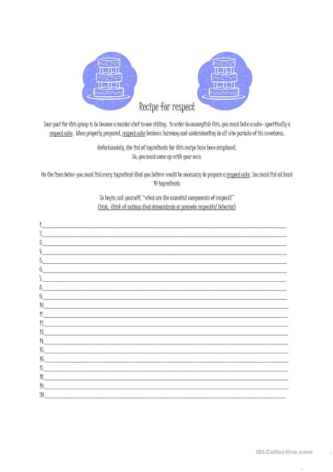 Printables Respect Worksheets 9 free esl respect worksheets recipe for worksheet