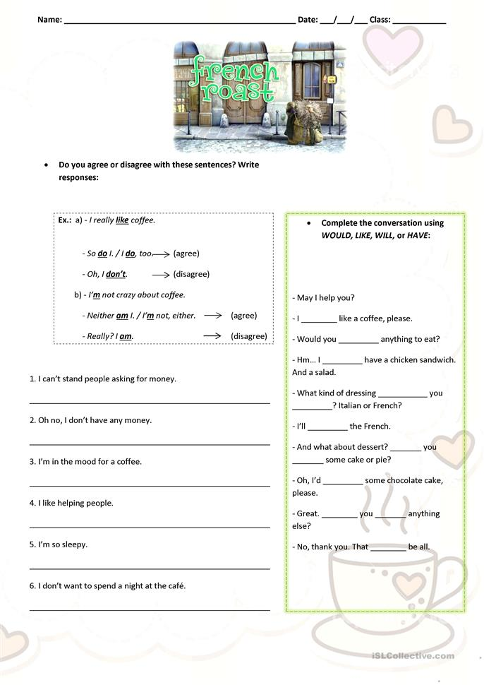 42 FREE ESL french worksheets