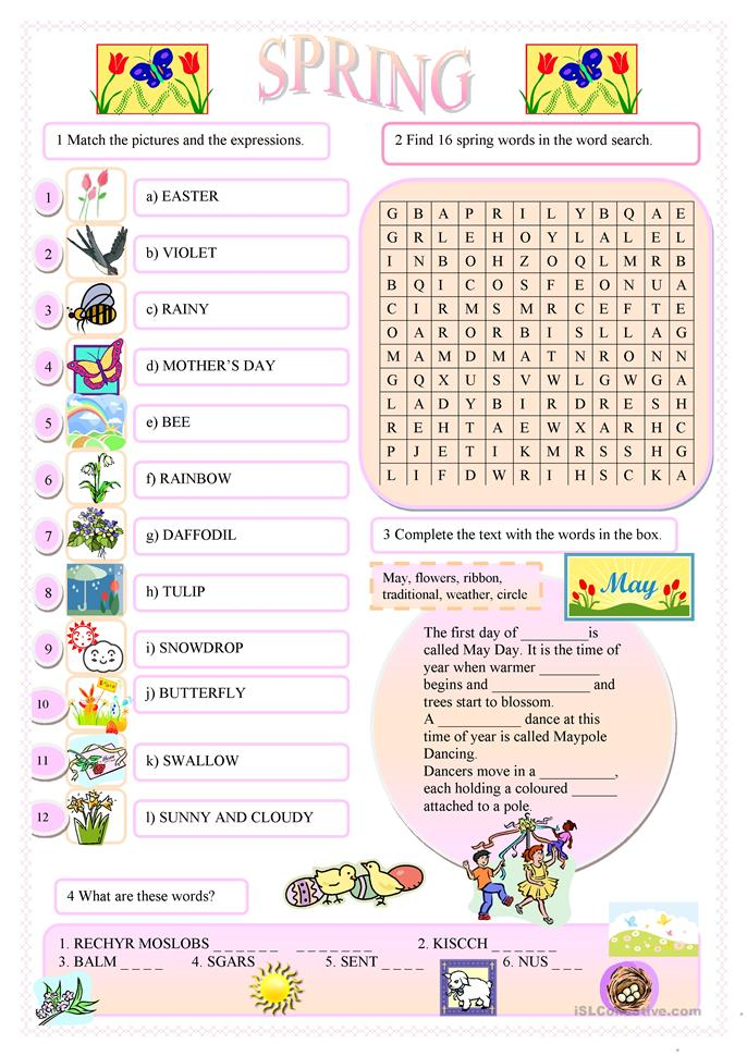 Spring English Worksheets : In my garden multiple choice worksheet free esl