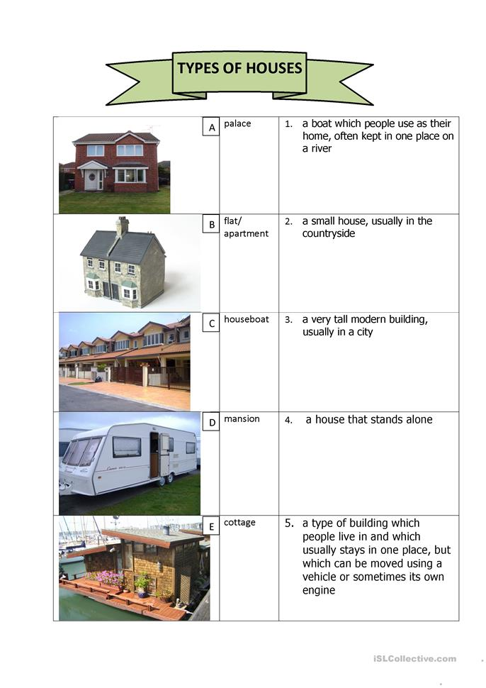 Types of houses worksheet free esl printable worksheets for All types of houses pictures