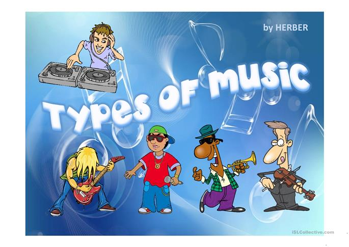 TYPES OF MUSIC PPT worksheet - Free ESL projectable ...