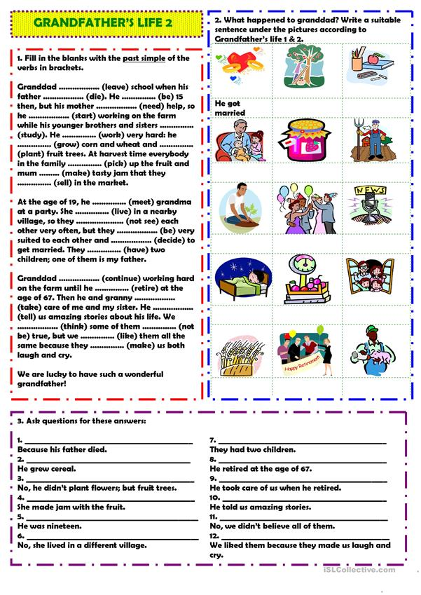 Grandfather's life 2 worksheet - Free ESL printable worksheets made