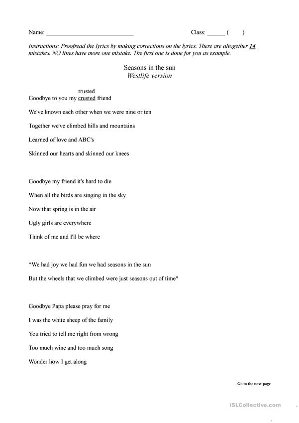 Seasons in the Sun (Proofreading) - English ESL Worksheets