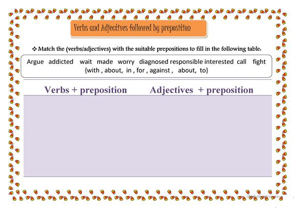 Preposition In Learn In Marathi All Complate: Verbs And Adjectives Followed By Preposition Worksheet