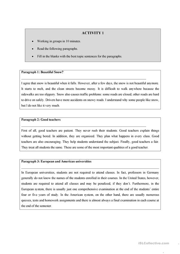 writing a topic sentence worksheet free esl printable worksheets made by teachers. Black Bedroom Furniture Sets. Home Design Ideas