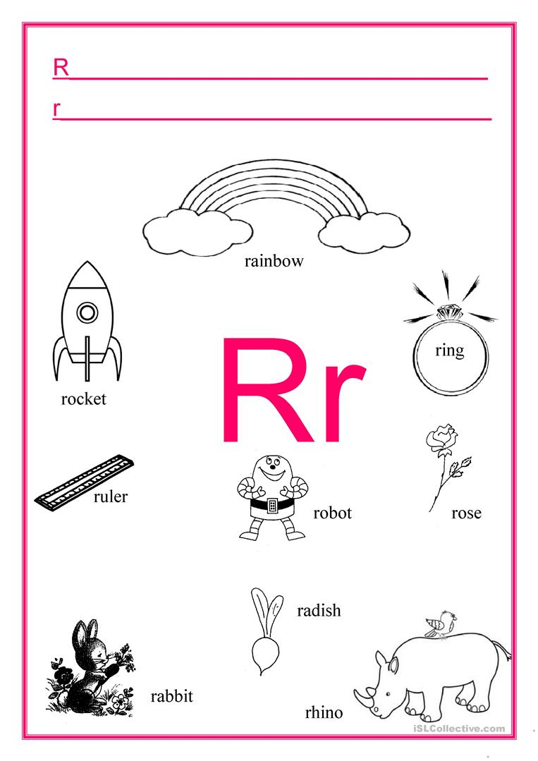 ALPHABET Letter R - English ESL Worksheets