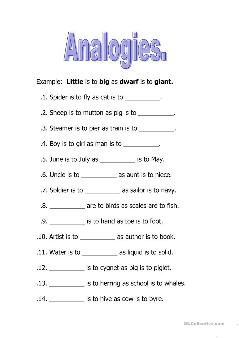 Analogies worksheet - Free ESL printable worksheets made by teachers