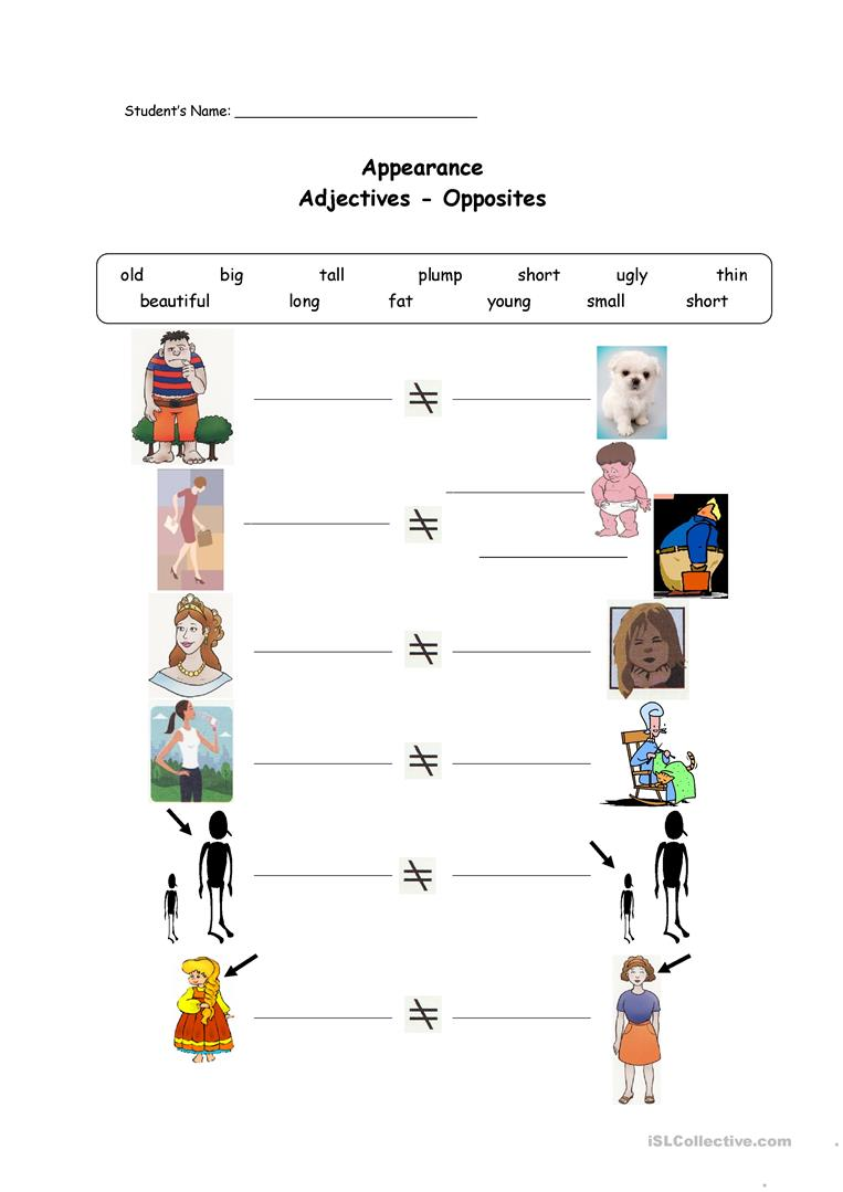 worksheet Opposite Worksheets 139 free esl adjectives opposites worksheets appearance opposites