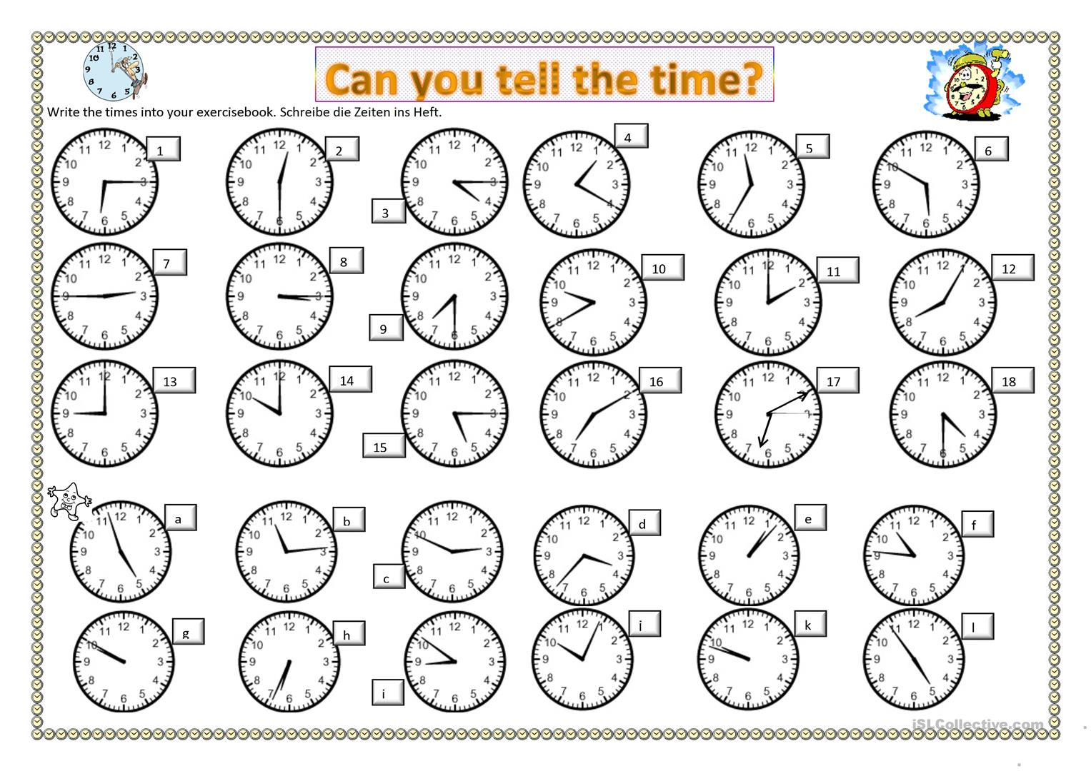 Can you tell the time   English ESL Worksheets for distance ...