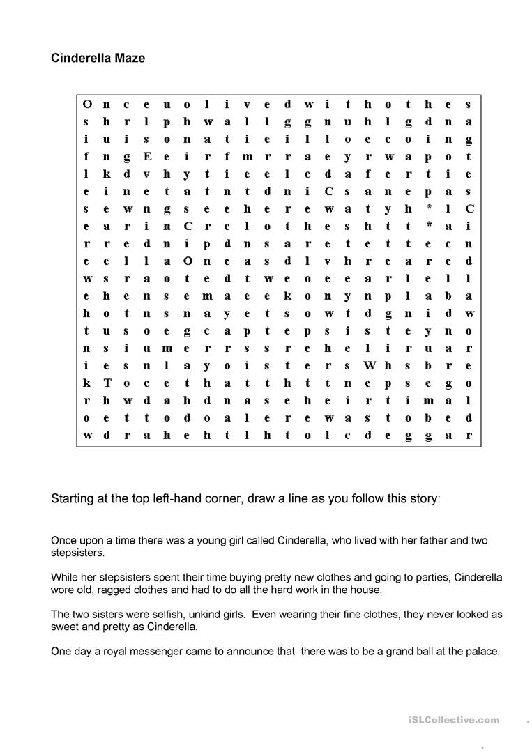 Cinderella Maze   English ESL Worksheets for distance learning and ...