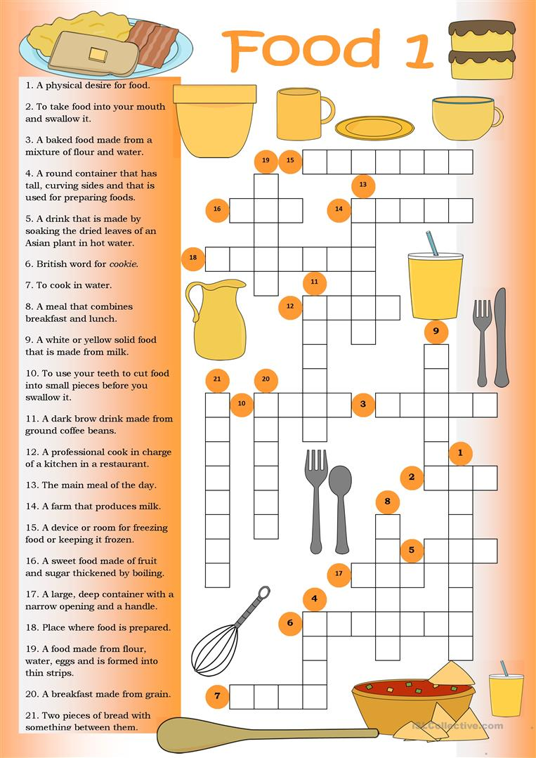 food crossword english worksheets crosswords puzzle printable esl teaching fun games safety worksheet nutrition islcollective resources vocabulary activities materials class
