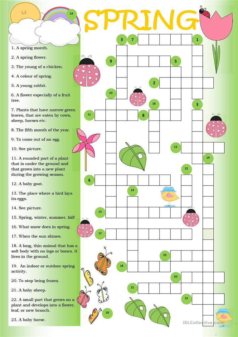 photo relating to Spring Crossword Puzzle Printable titled Crossword Spring - English ESL Worksheets