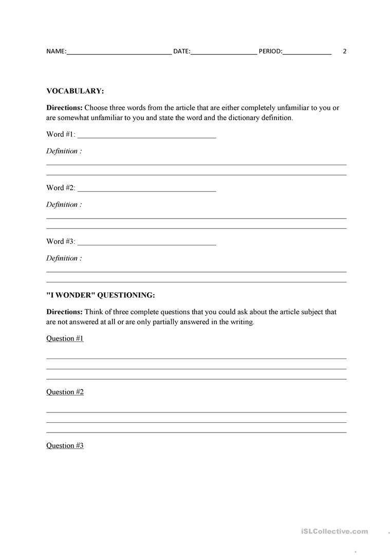 graphic about Current Events Worksheet Printable titled Latest Situations template - English ESL Worksheets