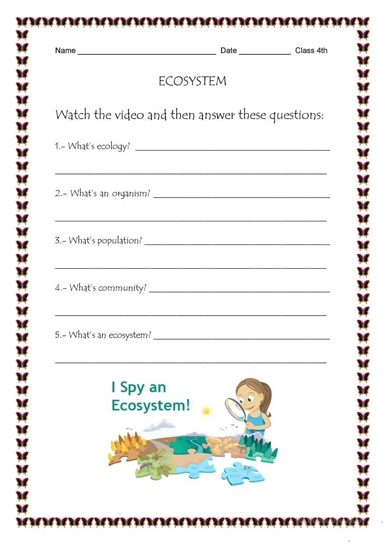ECOSYSTEM worksheet - Free ESL printable worksheets made by teachers