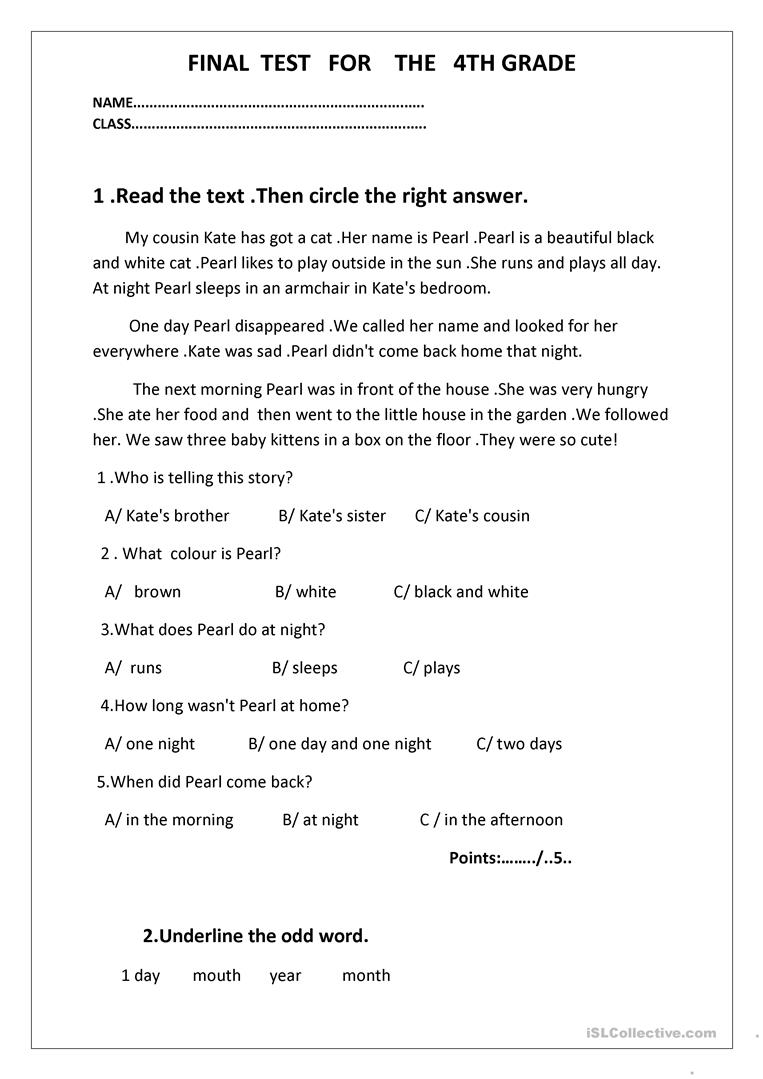 - Final Test For The 4th Grade - English ESL Worksheets For Distance