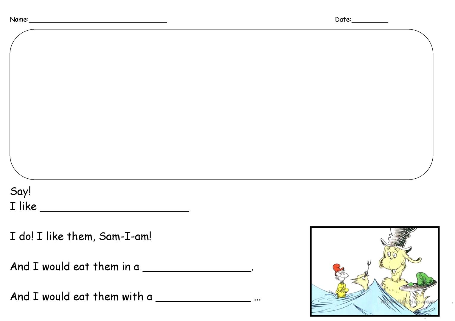 graphic relating to Writing Prompt Printable named Eco-friendly Eggs and Ham Creating Recommended - English ESL Worksheets