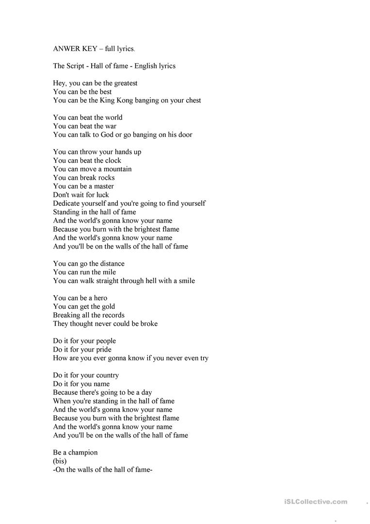 Hall Of Fame Lyrics Fill In The Gaps English Esl Worksheets For Distance Learning And Physical Classrooms