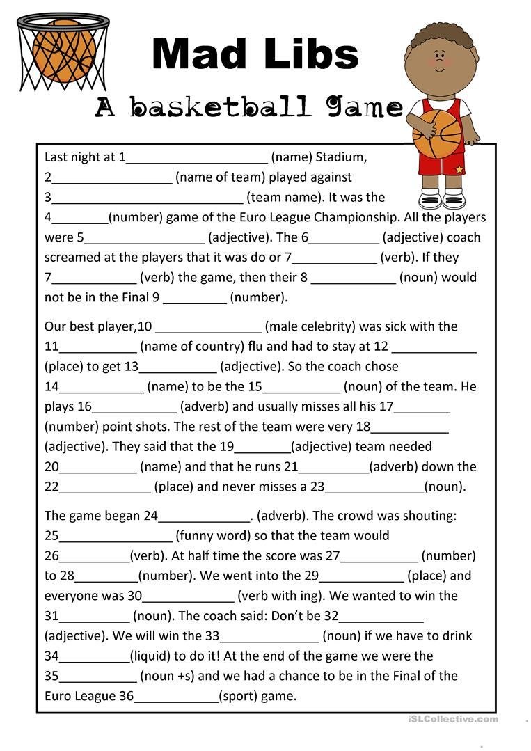 graphic about Printable Mad Libs Sheets for Adults named Crazy Libs Basketball Sport - English ESL Worksheets