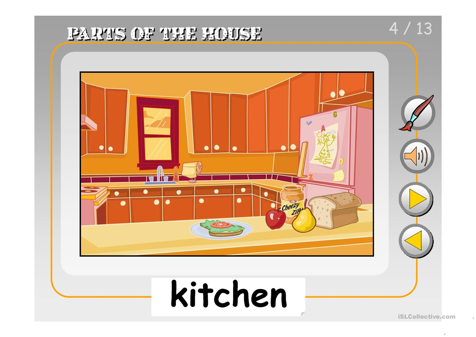 PARTS OF THE HOUSE PPT worksheet - Free ESL projectable ...